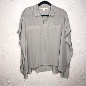 DVF Gray Silk Button down blouse M